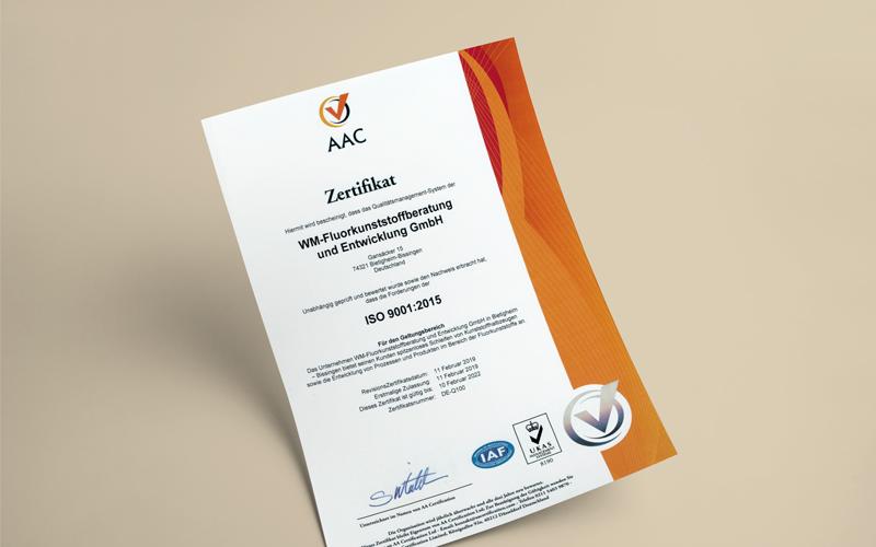 Wir sind nach ISO 9001:2015 zertifiziert